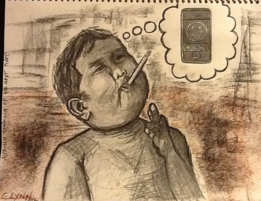 I drew this especially for this post.  Remember that viral video of the 2-yr-old Indonesian kid smoking a cigarette?  Here he is in his extrastructural boredom thinking of his next pivot.