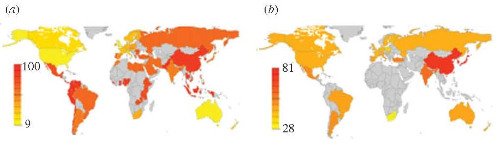 Color map frequency distribution of individualism-collectivism from geographic regions