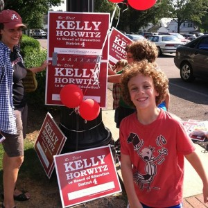 My kids & wife at the polls supporting our district rep, Kelly Horwitz