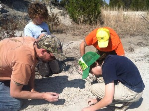 Hunting fossils with (clockwise from left) Dana Ehret, my son Jagger, me, & my son Lux. My son Bailey & wife Loretta are not pictured. (Photo by Loretta Lynn)