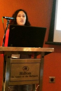 Johnna Dominguez presenting her talk on tattooing & SIgA at the Human Biology Association meeting, St. Louis, MO, March 26, 2015 (Photo by author).
