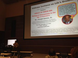 Introducing Dr. Graves' ALLELE lecture. Photo by Jo Weaver, 11/10/16.