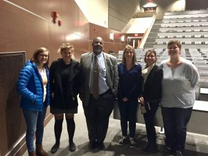 (L-R) Sierra Lawson, Danielle Secor, Dr. Joseph Graves, Caity Walker, Kelly Likos, and Jensen Brown. Photo courtesy Kelly Likos, North Lawn Auditorium, 11/10/16.