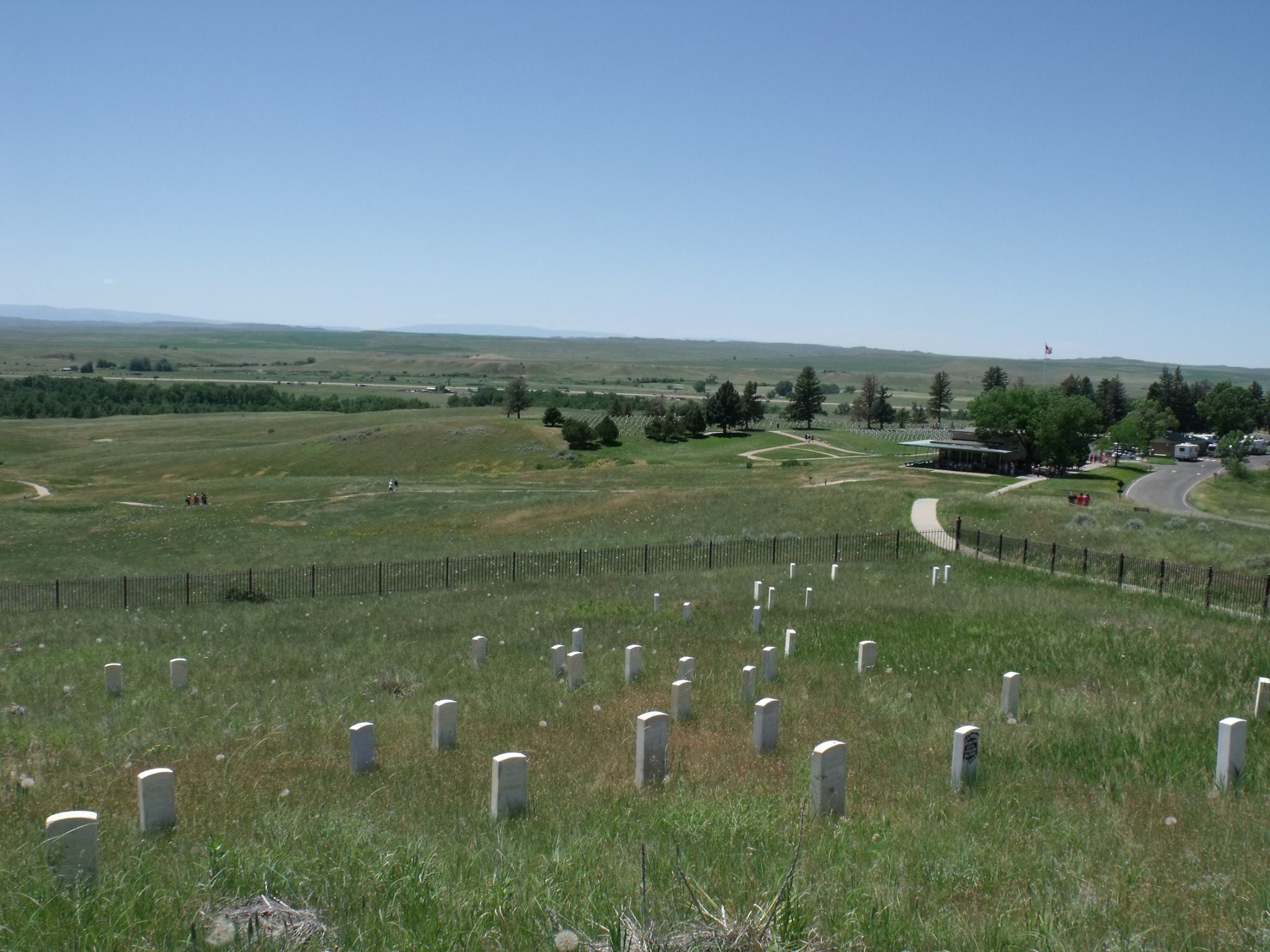 U.S. soldier grave markers pepper Little Bighorn National Monument.