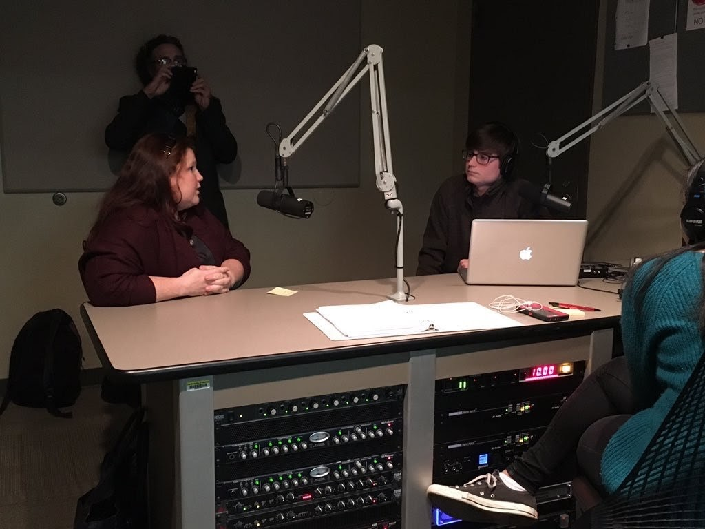 Dr. Becky Burch being interviewed in December 2015 on WVUA Capstone Radio by Jordan LaPorta.