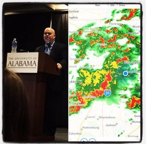 Lee McCorkle braved the raging storm to give an ALLELE lecture on the cognitive science of religion in March.