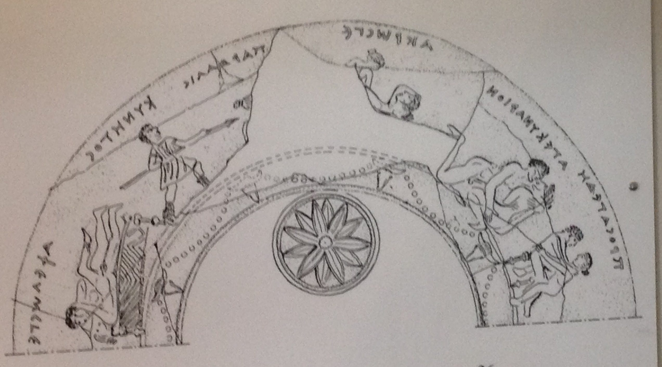 Drawing of the sex acts depicted on the inside of ancient Greek pottery from the museum at Pella, birthplace of Alexander the Great.