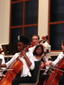 Bailey playing standup bass at the 2016 ASTA Honors Strings Festival in Birmingham, AL.