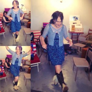 "Loretta in her new cowboy boots at her ""surprise"" birthday gathering at Grace Aberdean Habitat Alchemy, August 2016."