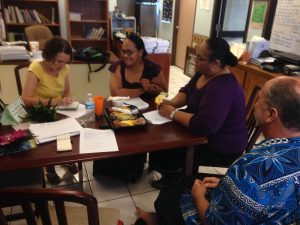Michaela Howells conducting interviews in the Office of Historic Preservation, American Samoa.