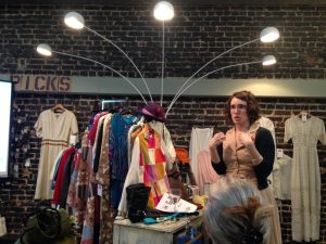 "Michaela giving talk ""Fashion as Political Resistance: Defiant Fashion, Defiant Women"" at Second Skin Vintage, 3/7/17."