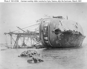 SMS Adler after the hurricane.