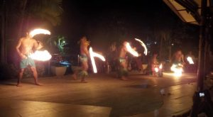 Fire knife dancers in Apia