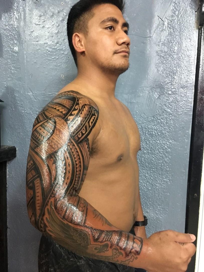 Full sleeve by Joe at Off Da Rock Tattoo.