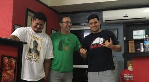 Author with Niko Ahfoon (left) and Joe Ioane (right) in Joe's studio Off Da Rock.