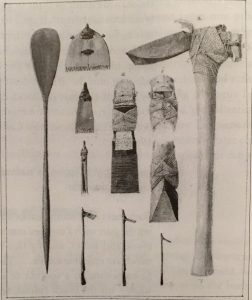 """Tools etc from the South Sea Isles."" Pen and wash, John Frederick Miller, 1771, British Library (From Kuwuhara 2005)"