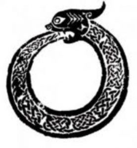 I chose to try to make this ouroboros design for my very first self-handpoke tattoo.