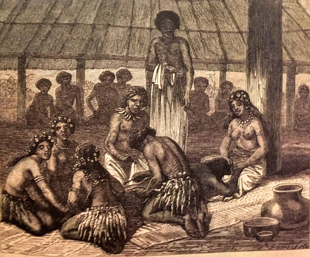 Tattooing day in Samoa 1868-70. Illustration for a publication titled 'The Natural History of Man: Being an Account of the Manners and Customs of the Uncivilized Races of Men' (from Mallon & Galliot 2018, p. 49)